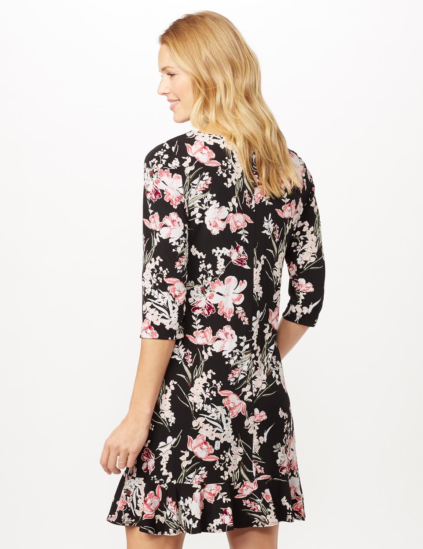 Floral Puff ITY Dress with Flounce Hem -Black/blush - Back