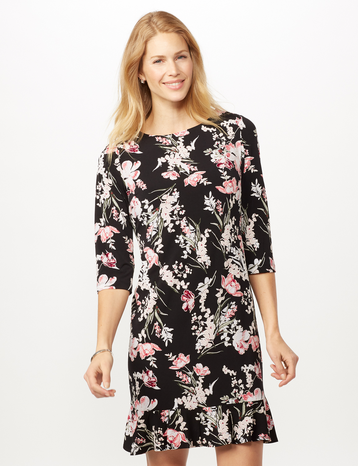 Floral Puff ITY Dress with Flounce Hem -Black/blush - Front