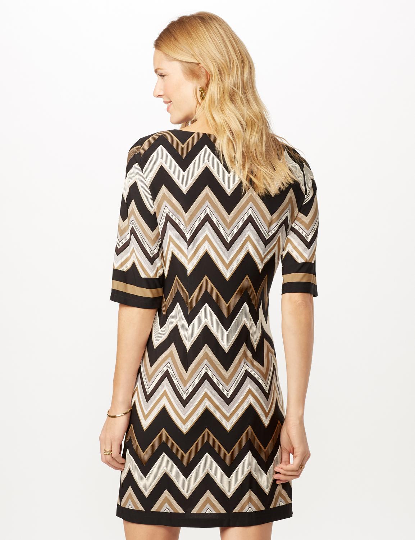 Chevron Sheath Dress -Black/neutral - Back