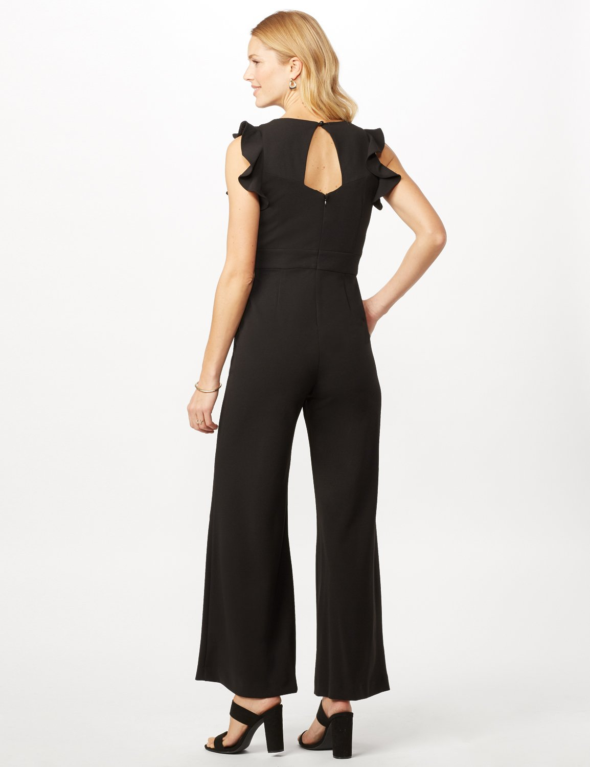 Flutter Sleeve Scuba Crepe Jumpsuit -Royal - Back