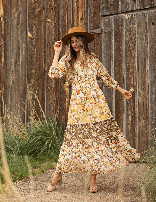 Chiffon Mixed Print Peasant Dress -Ivory/Gold - Front