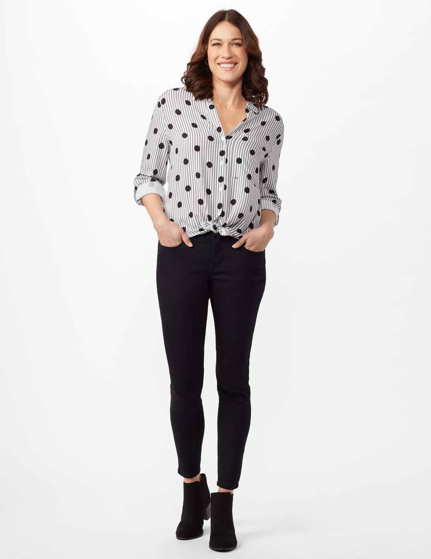Roll Tab Sleeve Dot Stripe Button Up Shirt - Black/white - Detail