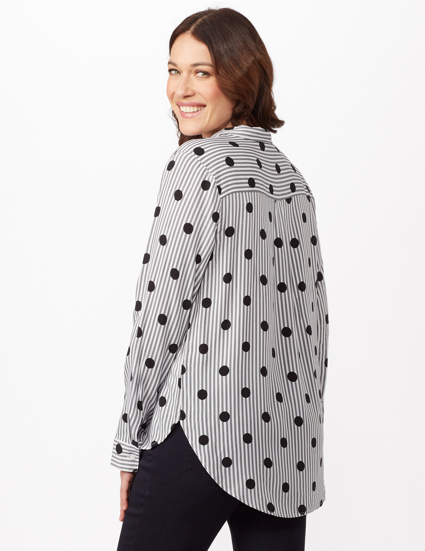 Roll Tab Sleeve Dot Stripe Button Up Shirt -Black/white - Back
