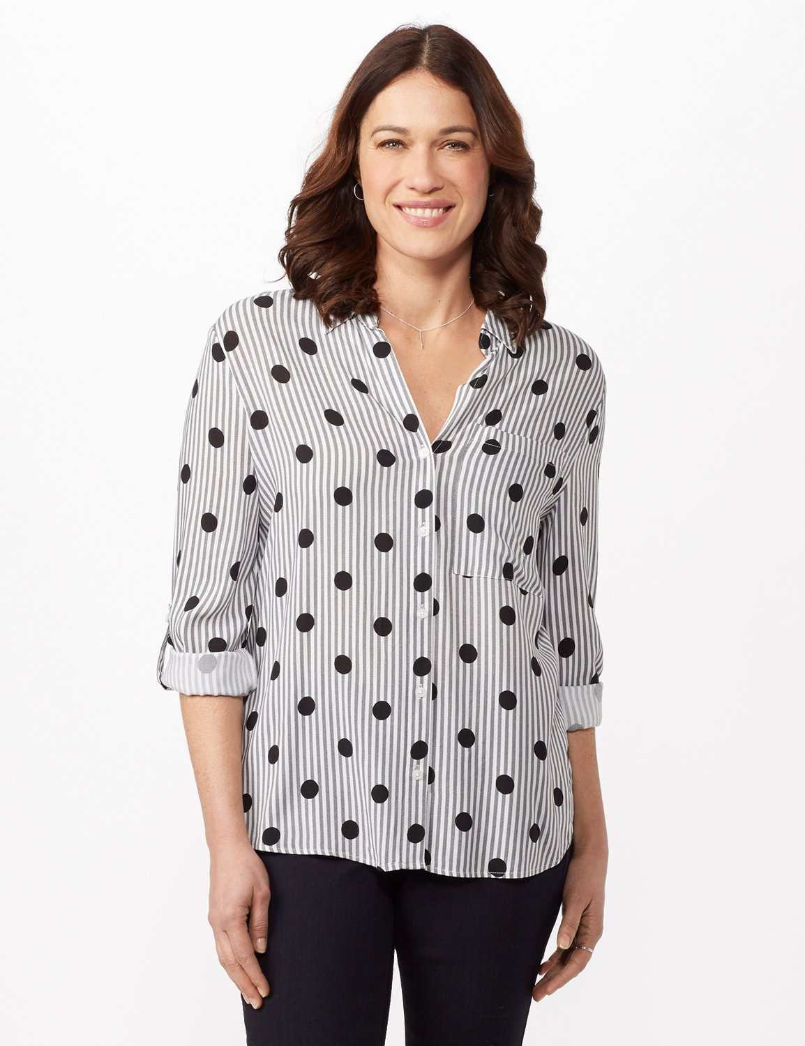 Roll Tab Sleeve Dot Stripe Button Up Shirt -Black/white - Front