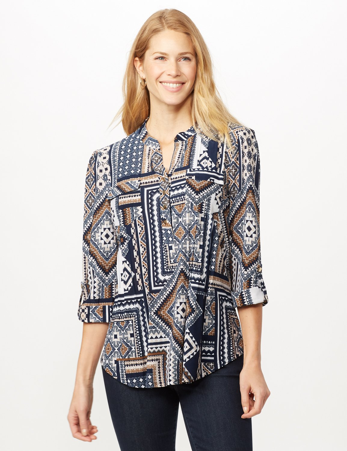 Patchwork Geometric Popover -Blue Multi - Front
