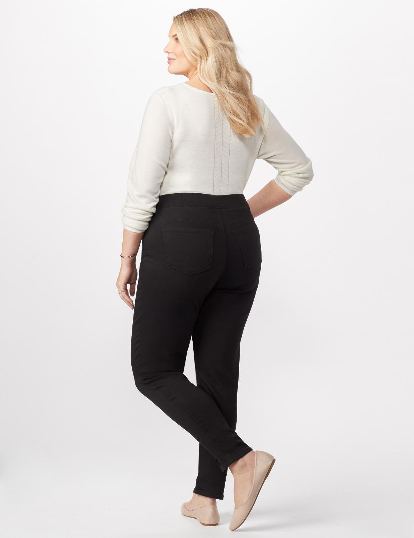 Knit Denim Pull On Jeans -Black - Back