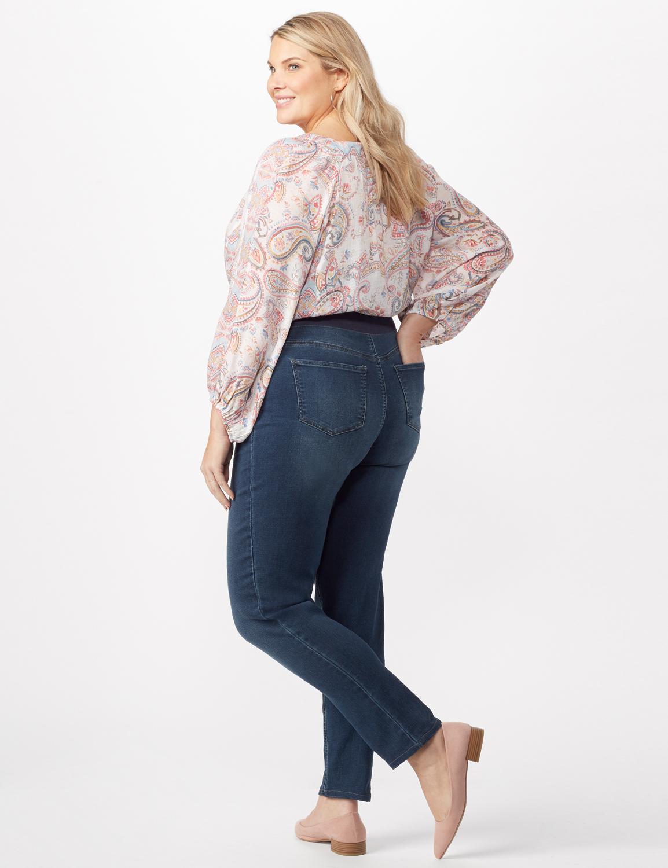 Knit Denim Pull On Jeans -Dark Wash - Back