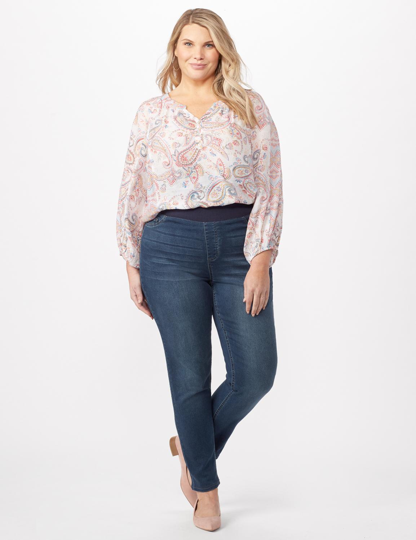 Knit Denim Pull On Jeans -Dark Wash - Front
