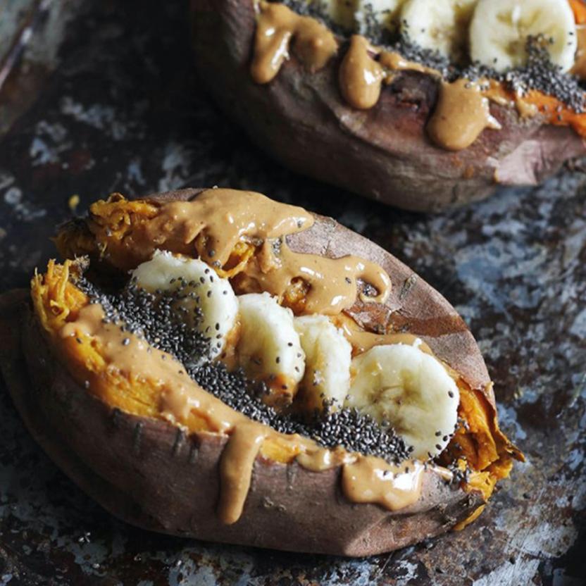 Baked Sweet Potato with Cinnamon Vanilla Nut Butte | Butterfly