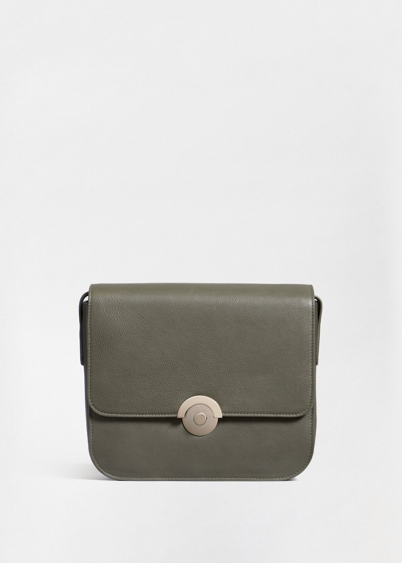 Box Bag in Pebbled Leather - Olive - Co Collections