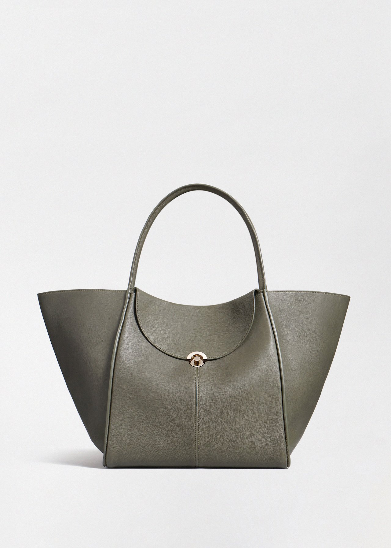 Cabas Bag in Pebbled Leather - Ivory in Olive by Co Collections