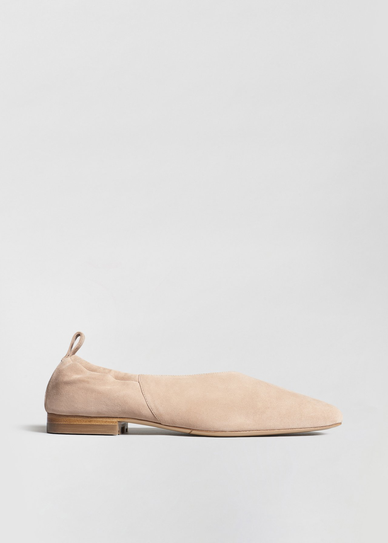 Ballet Flat in Suede - Olive in Sand by Co Collections