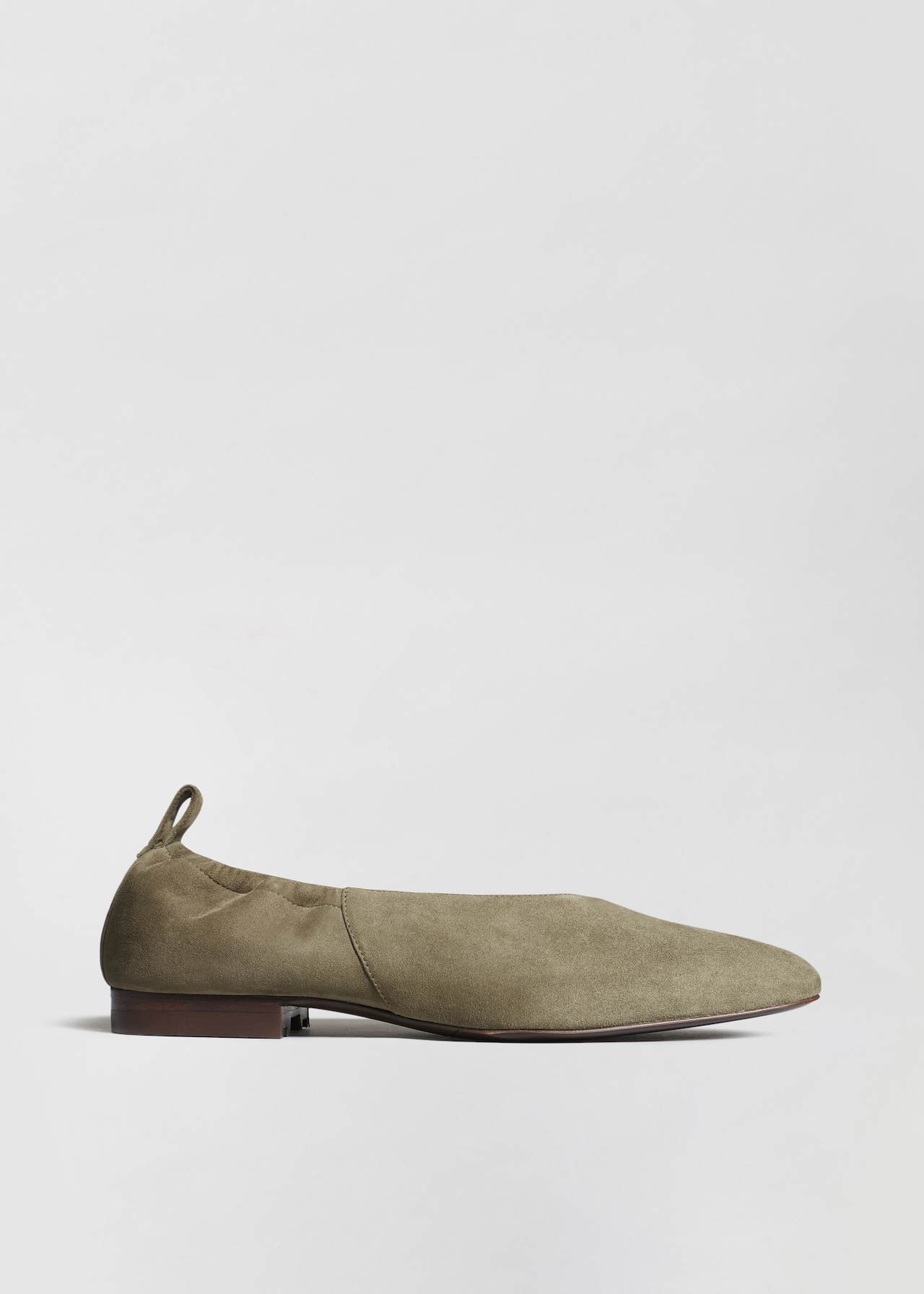 Ballet Flat in Suede - Olive - Co Collections
