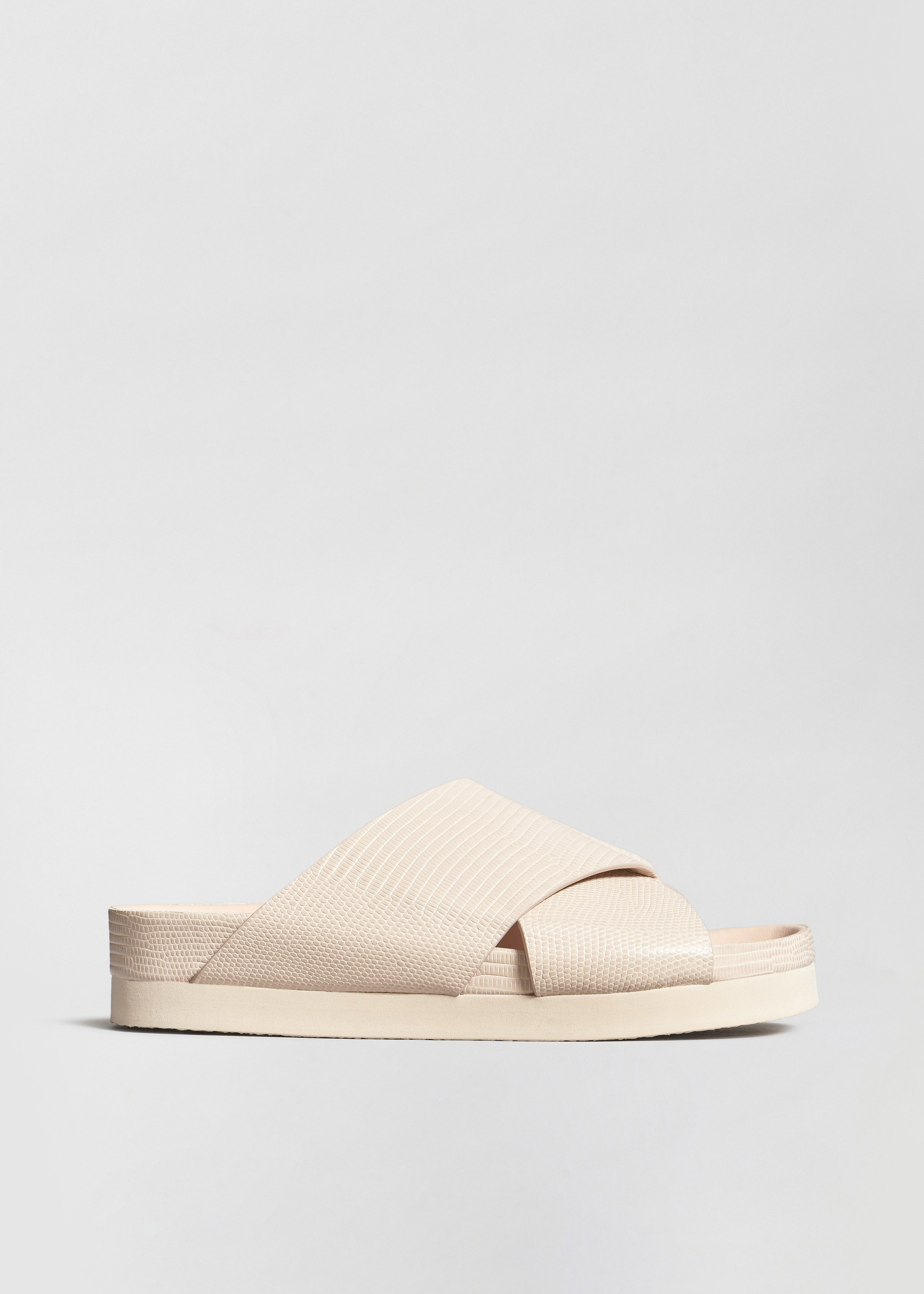 Slide Sandal in Embossed Leather - Sand - Co Collections
