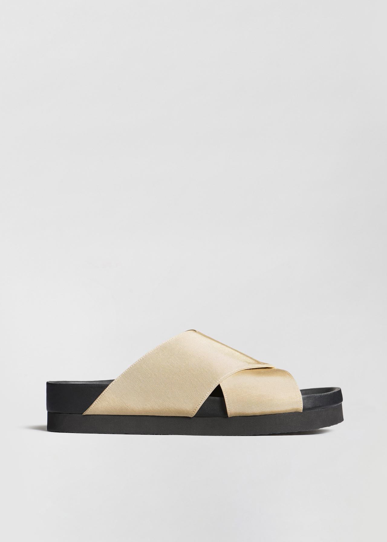 Slide Sandal in Grosgrain - Sand - Co Collections