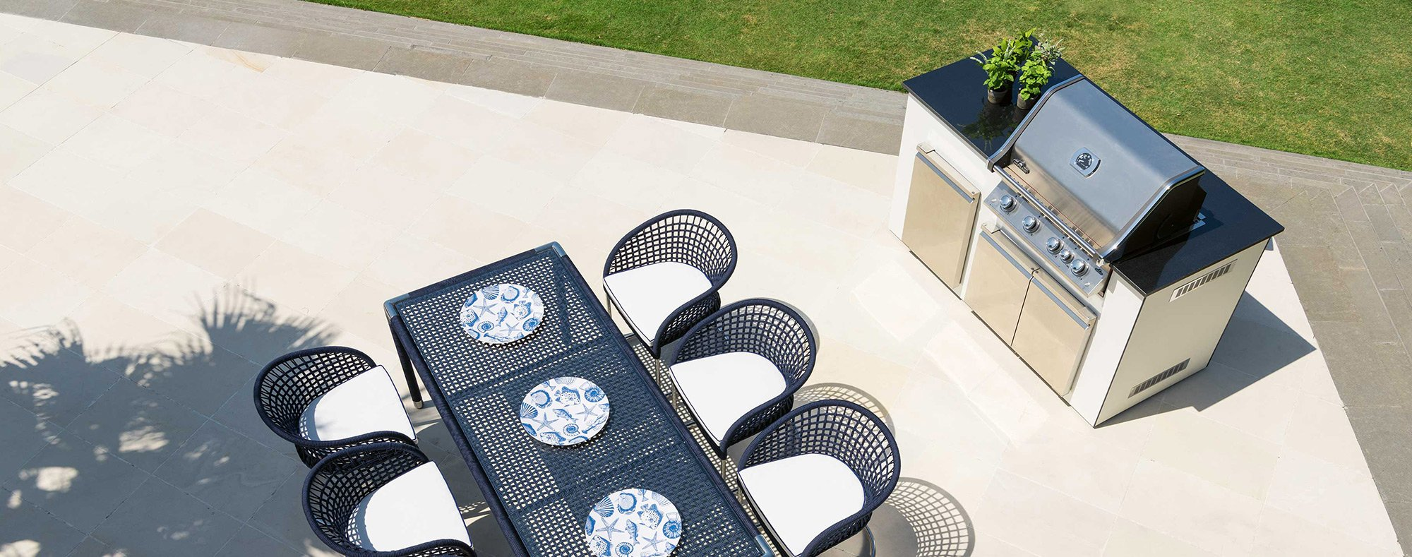 Outdoor dining tables and grill