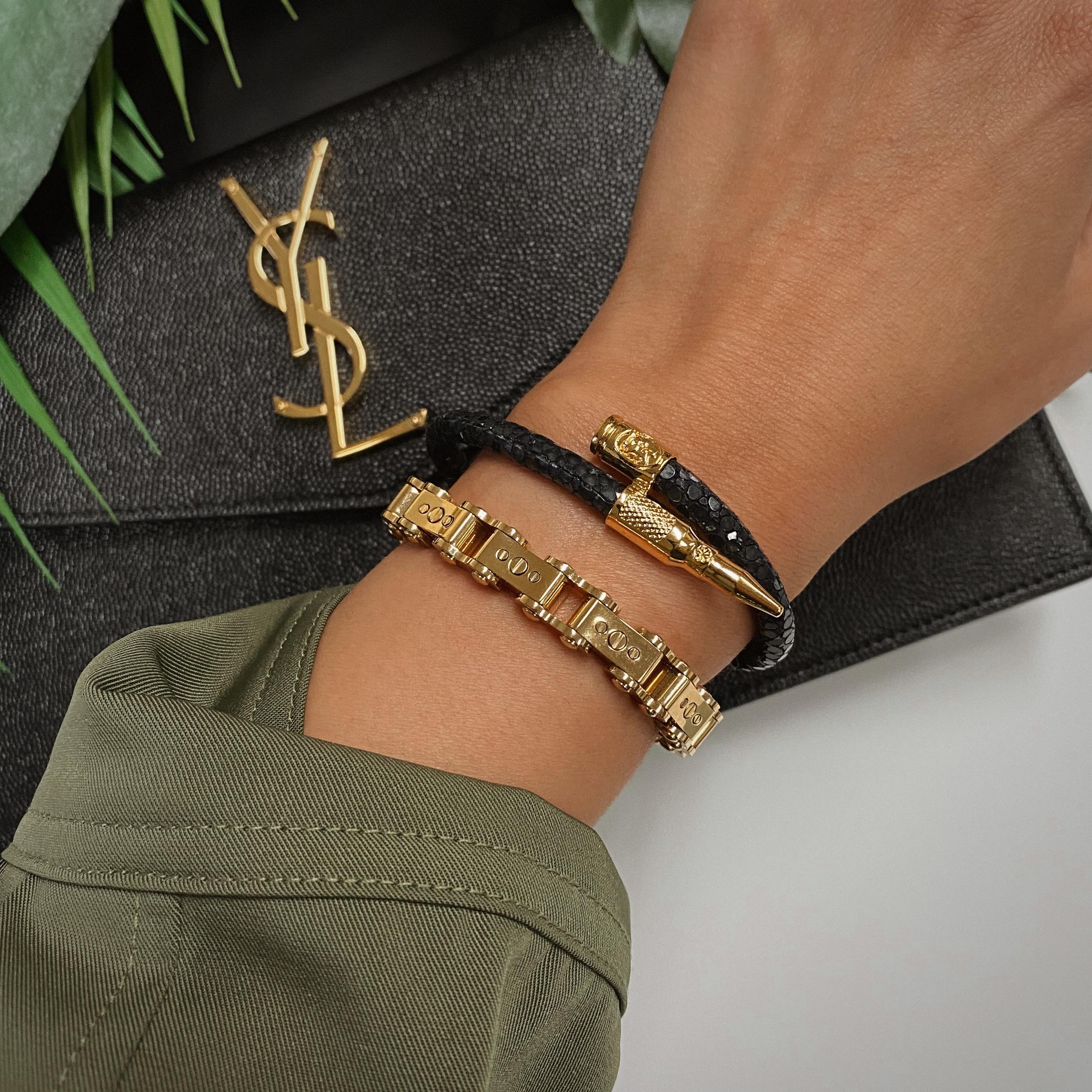Woman wearing Black Stingray Bracelet on wrist