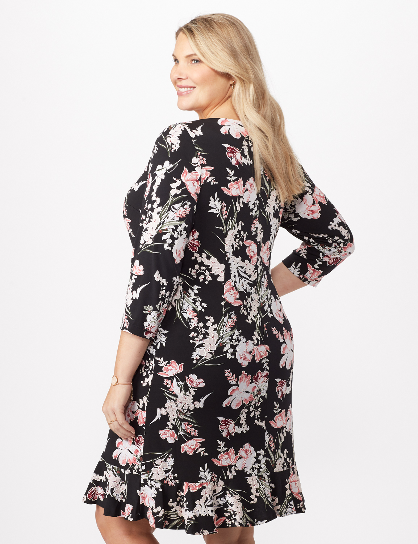 Floral Puff ITY Dress with Flounce Hem - Plus -Black/Blush - Back