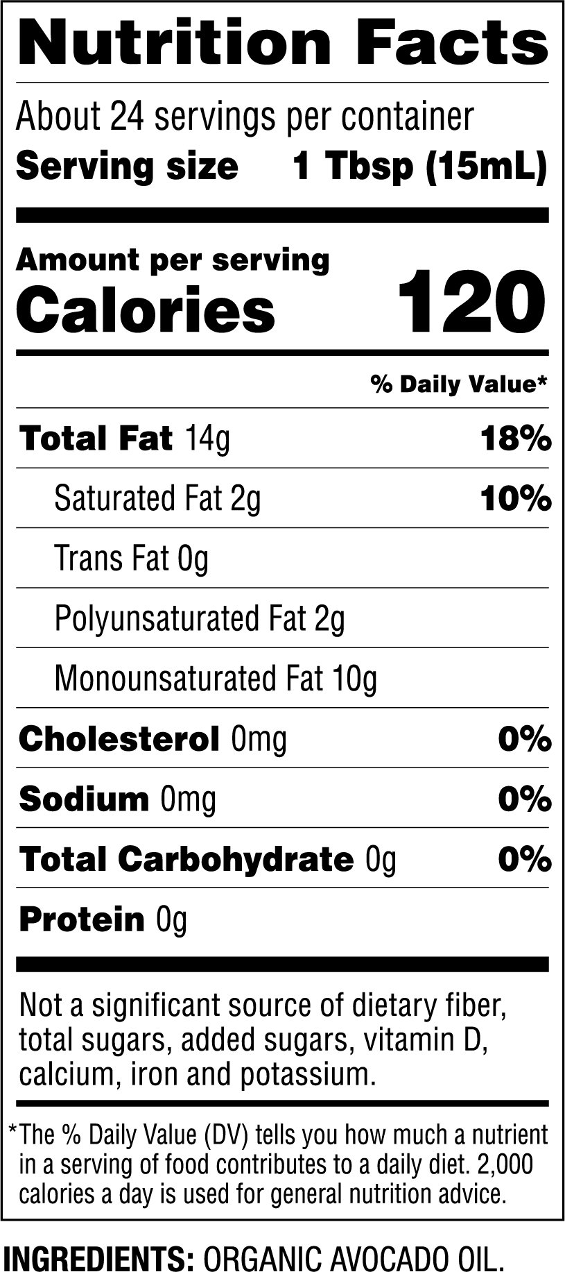 Organic Avocado Oil Nutrition Facts