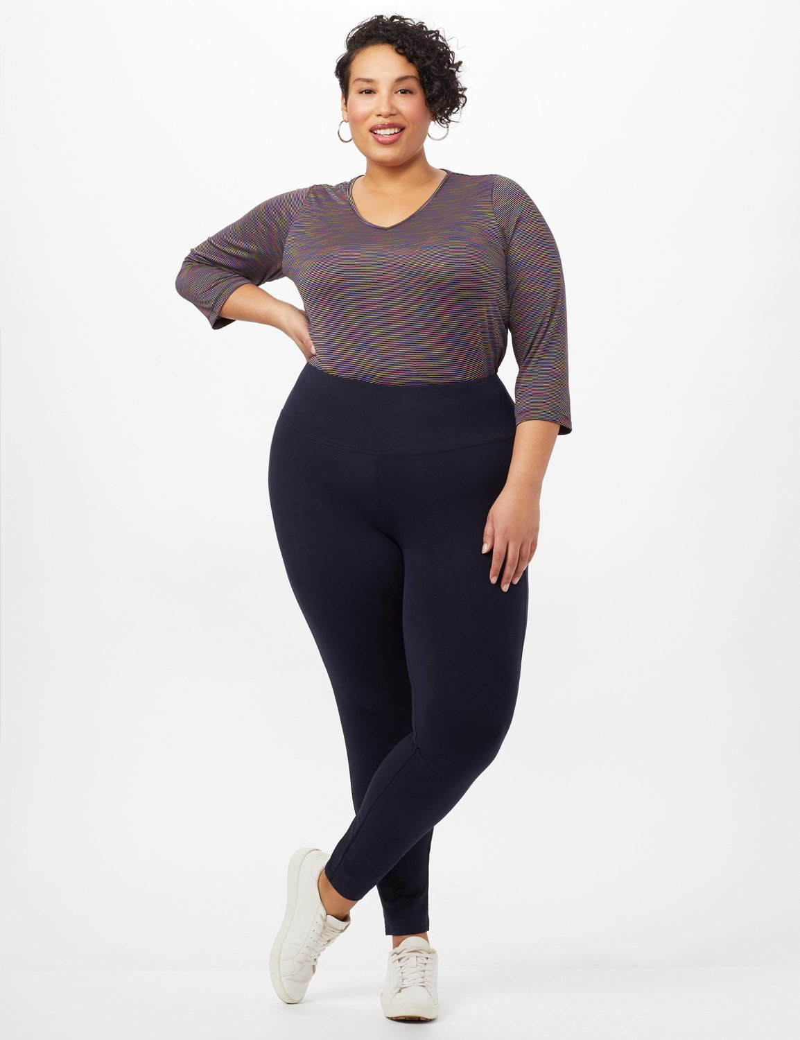 Tummy Control Leggings -Navy - Front