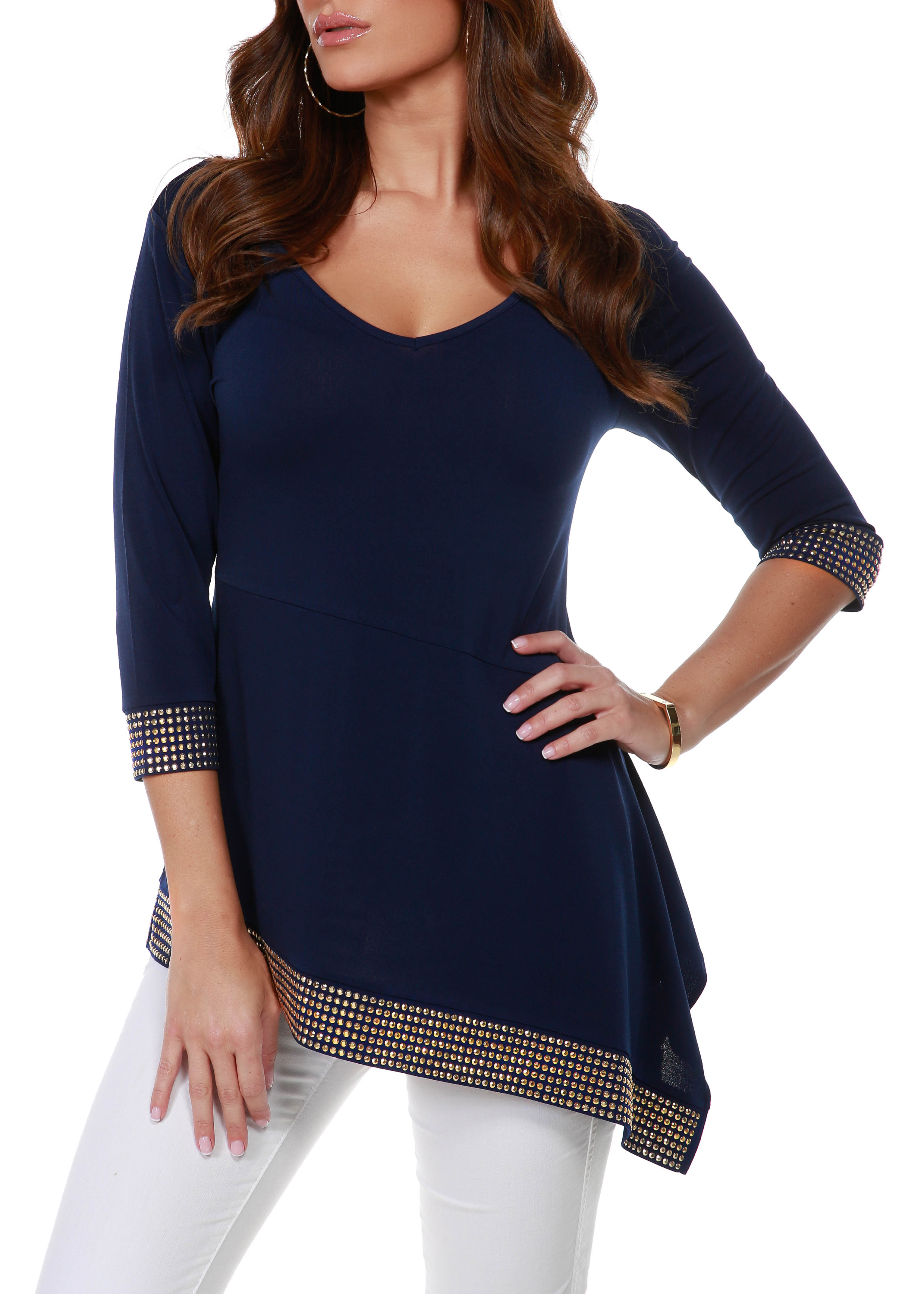 3/4 Sleeve Asymmetrical Hem With Studs -Navy/Gold - Front
