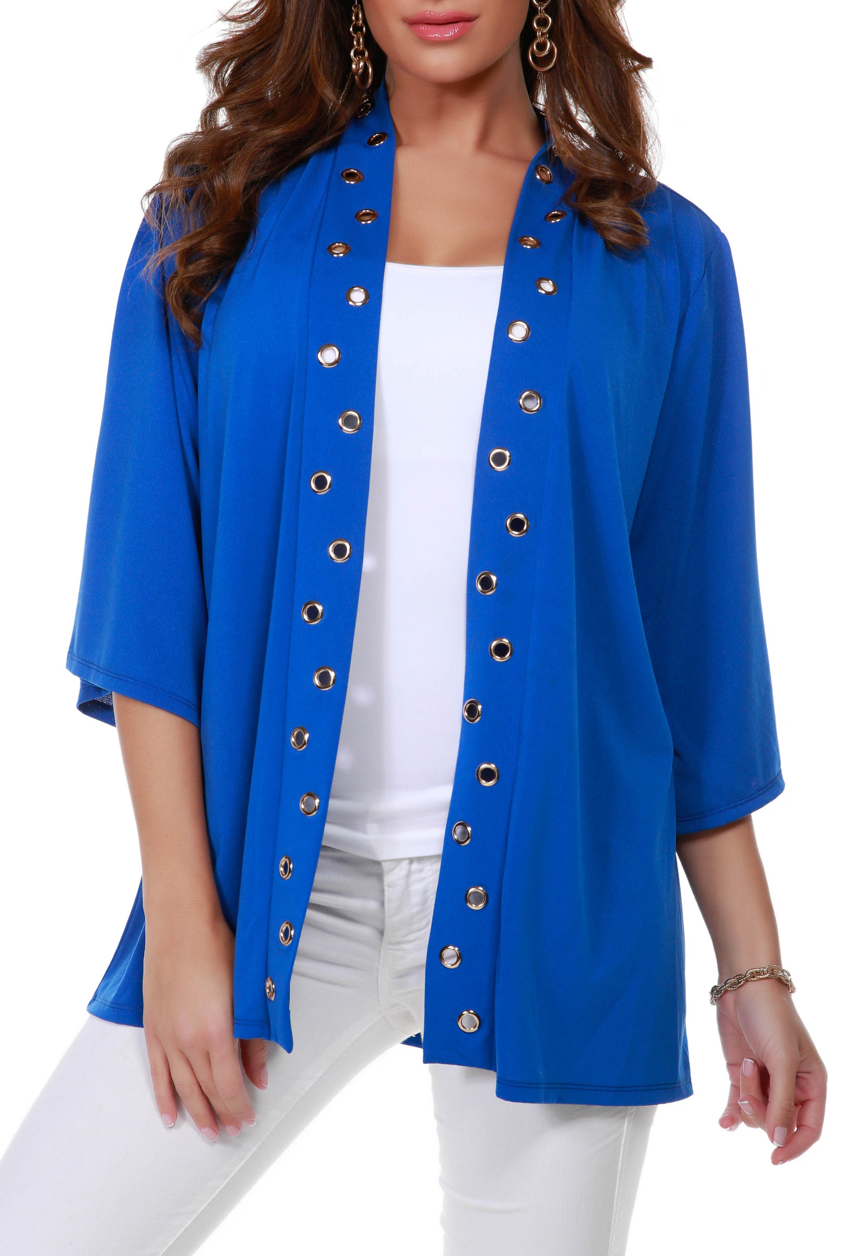 3/4 Sleeve Grommet Trimmed Cardigan - Misses -Cerulean Blue/Gold - Front