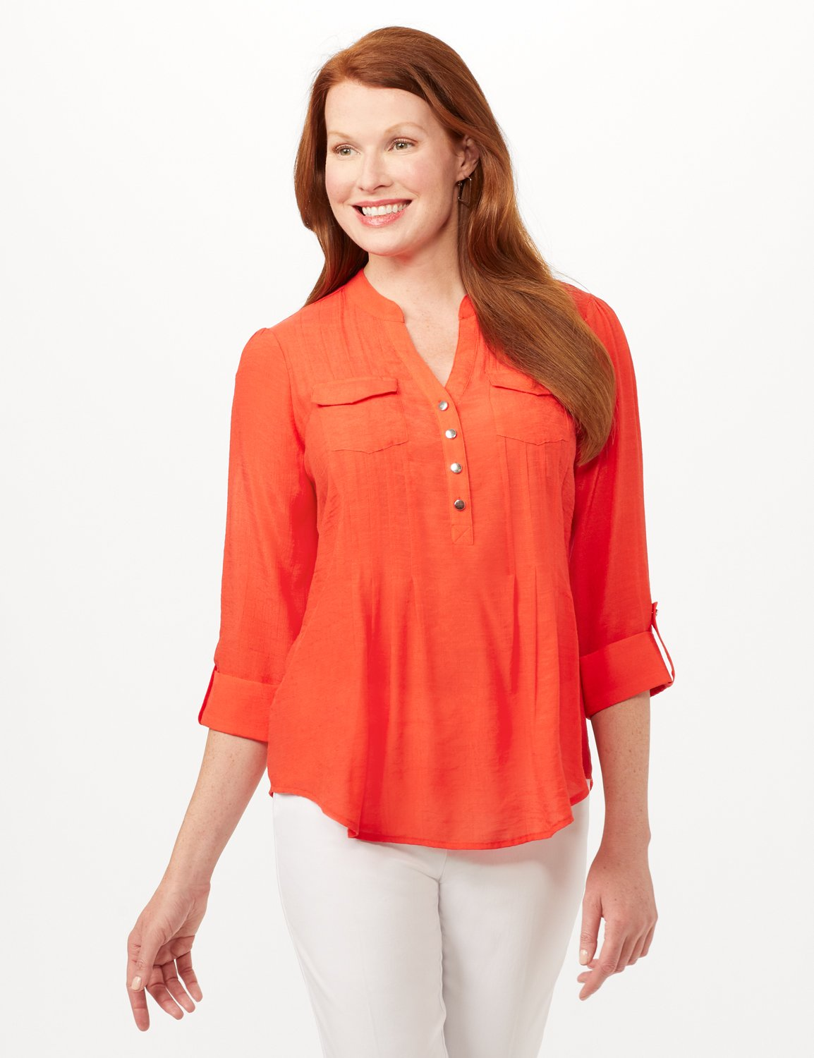 Pintuck Textured Button Popover Top -Bright Orange - Front