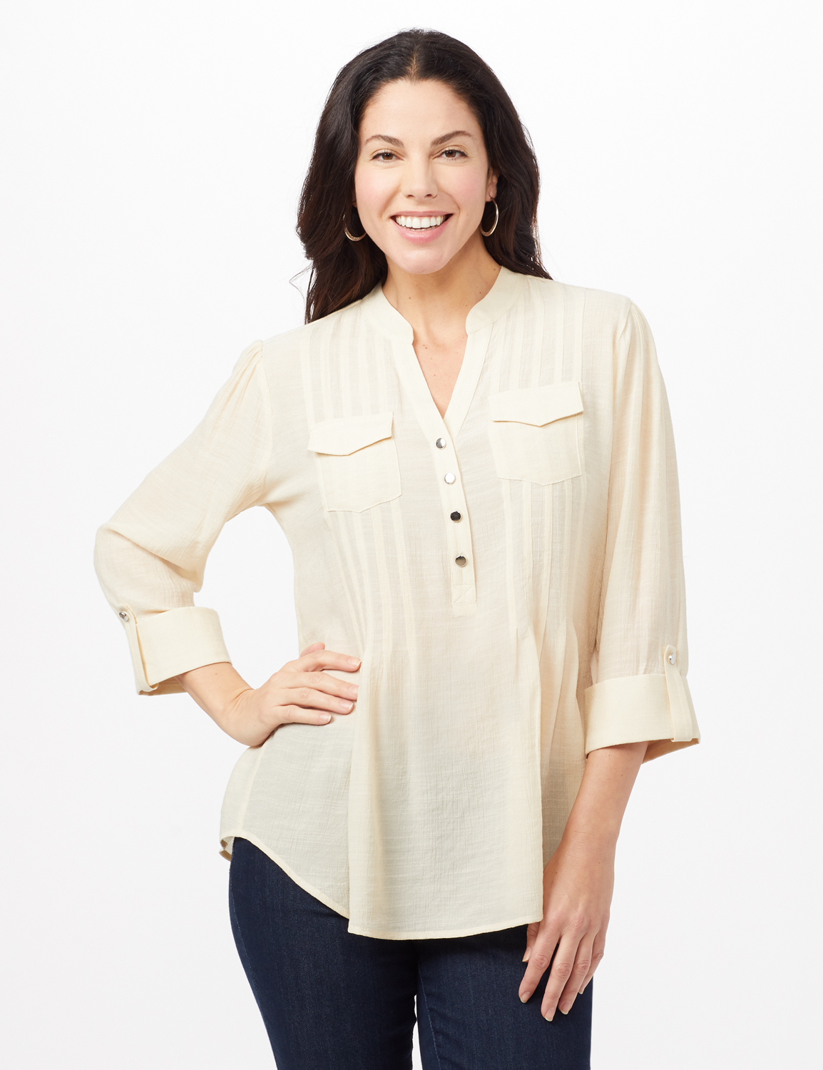 Pintuck Textured Button Popover Top -Neutral - Front