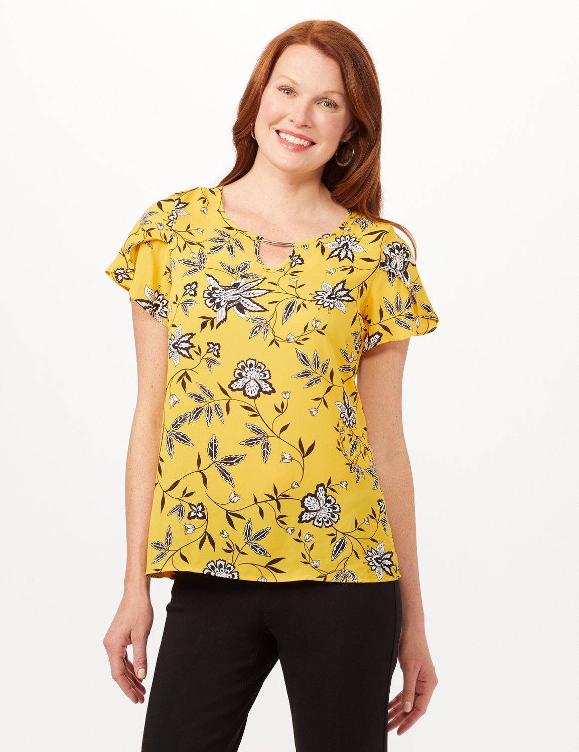Tulip Sleeve Keyhole Top -Gold - Front