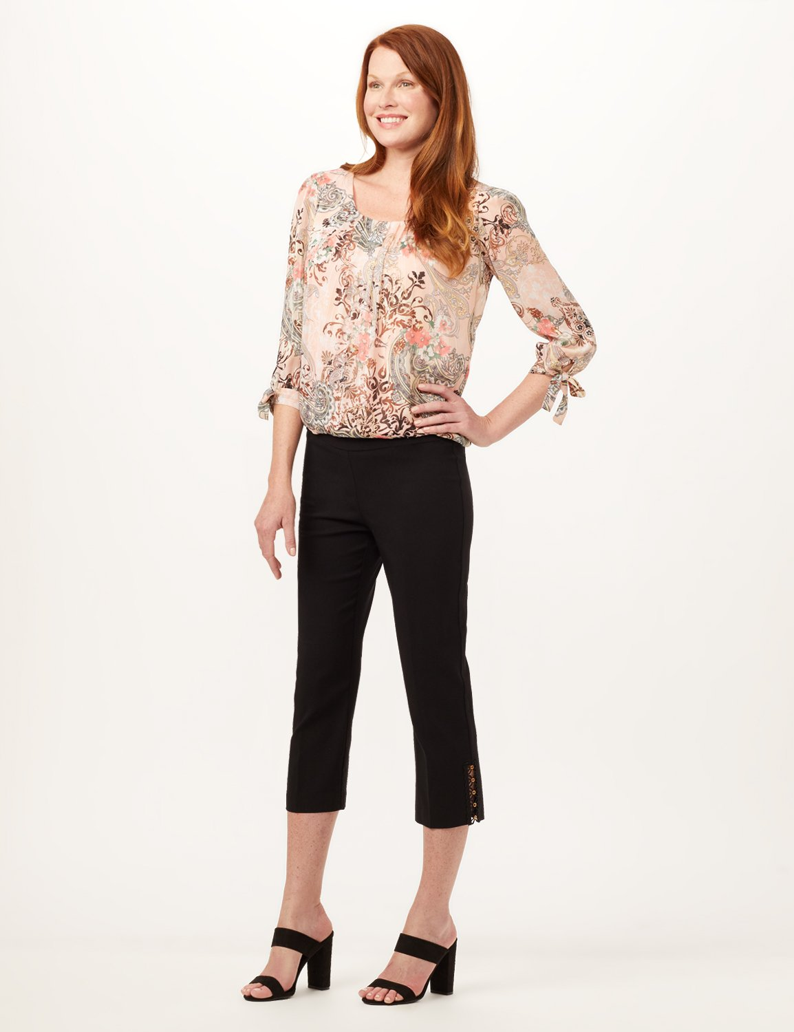 Pull-On Lace Trim Crop Pants -Oatmeal - Front