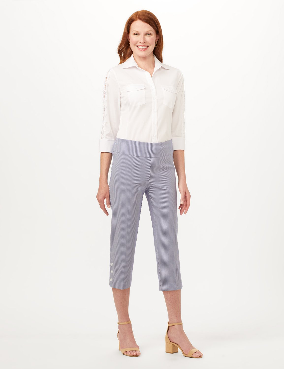 Striped Pull-On Crop Pants -Blue/White - Front