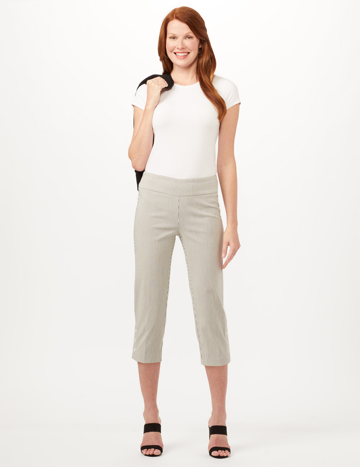 Striped Pull-On Crop Pants -White/Black - Front