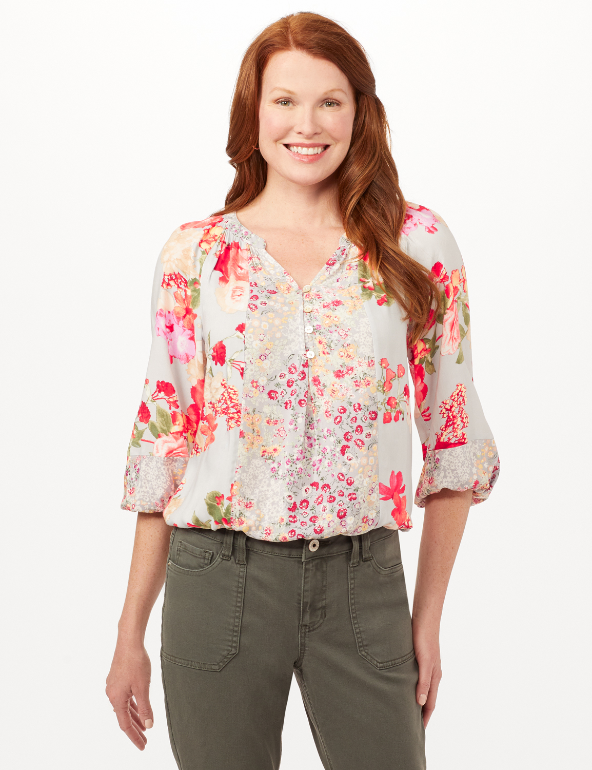 Twin Floral Peasant Top -Cool Coral - Front