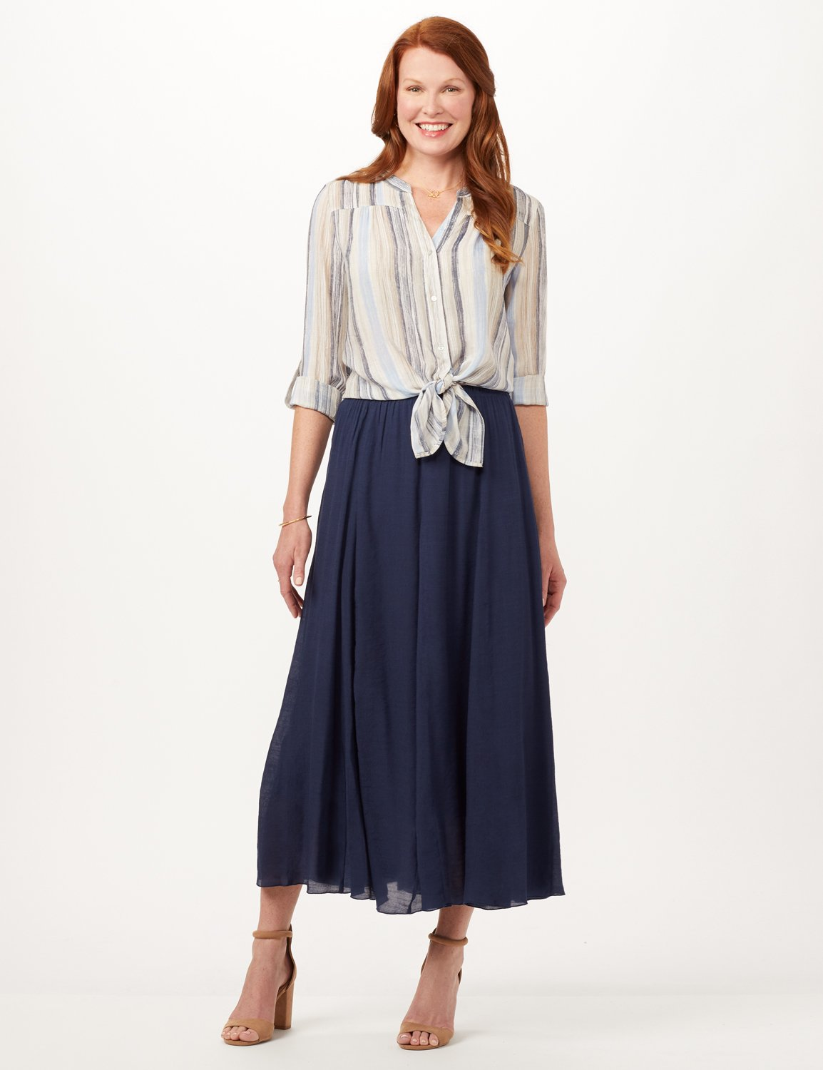 Textured Pull-On Skirt -Deep Pacific Blue - Front