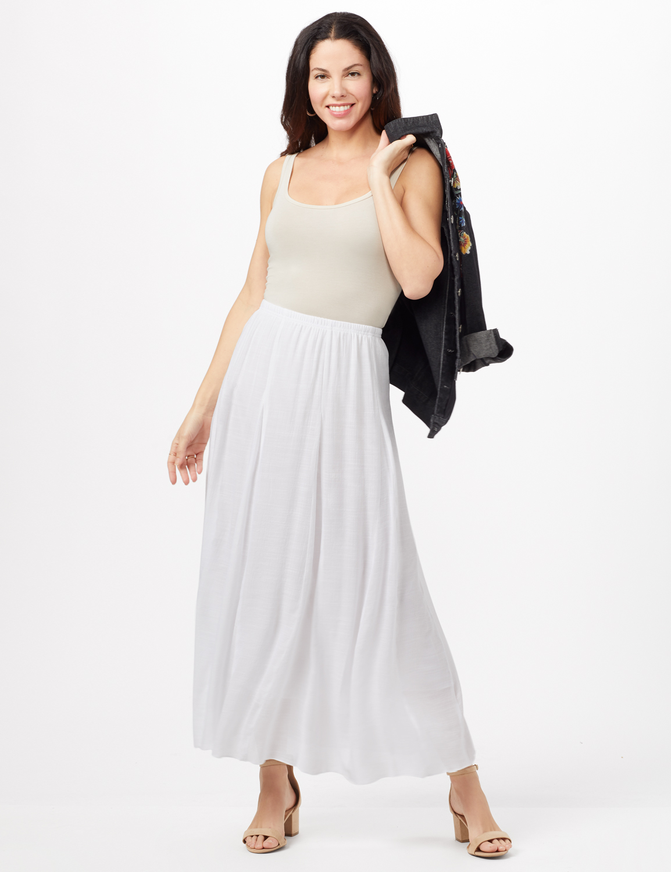 Textured Pull-On Skirt -White - Front