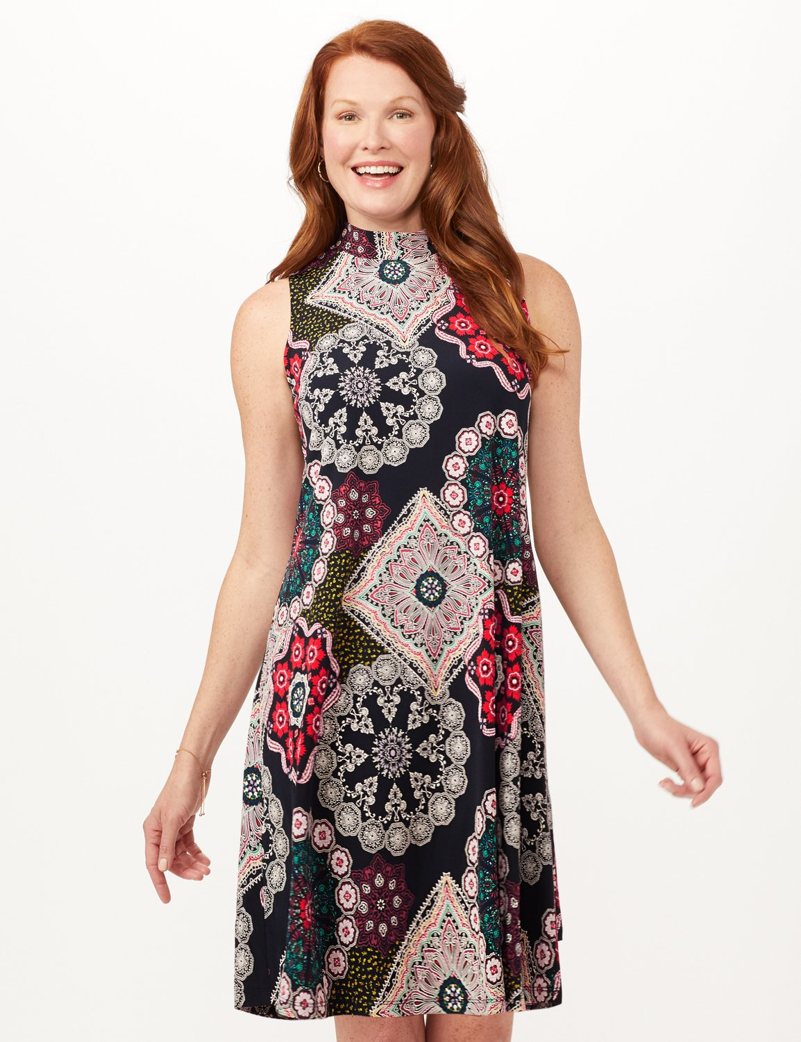 Medallion Puff Print Swing Dress -Navy/Red - Front