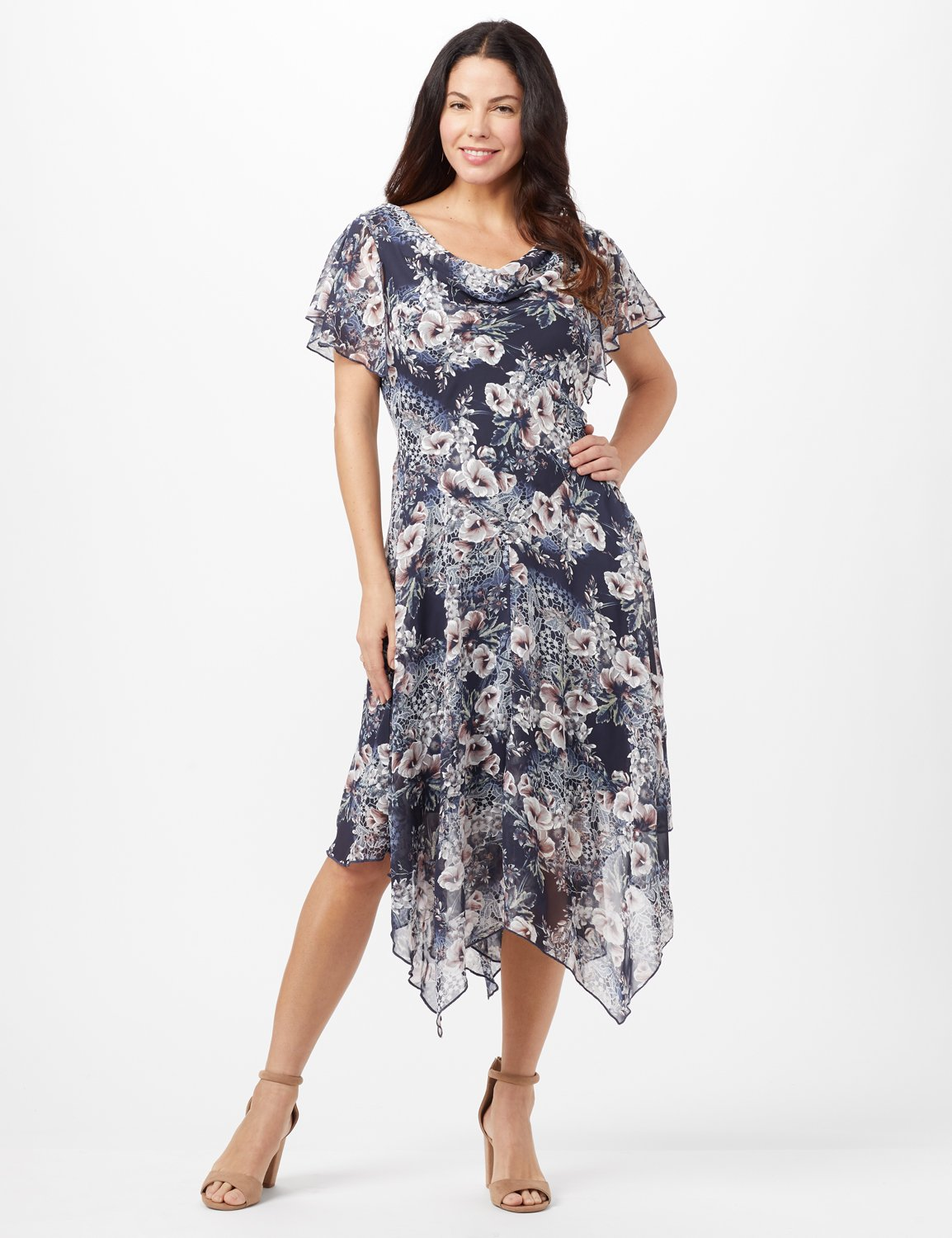 Floral Chiffon Drape Neck Hanky Hem Dress - Misses -Navy/Mauve - Front