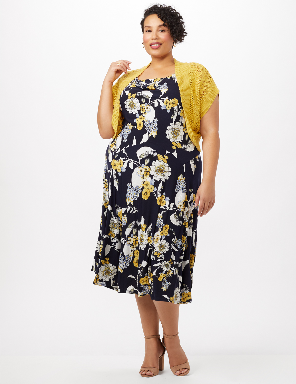Crochet Sweater Drape Neck Floral Dress -Navy/Yellow - Front