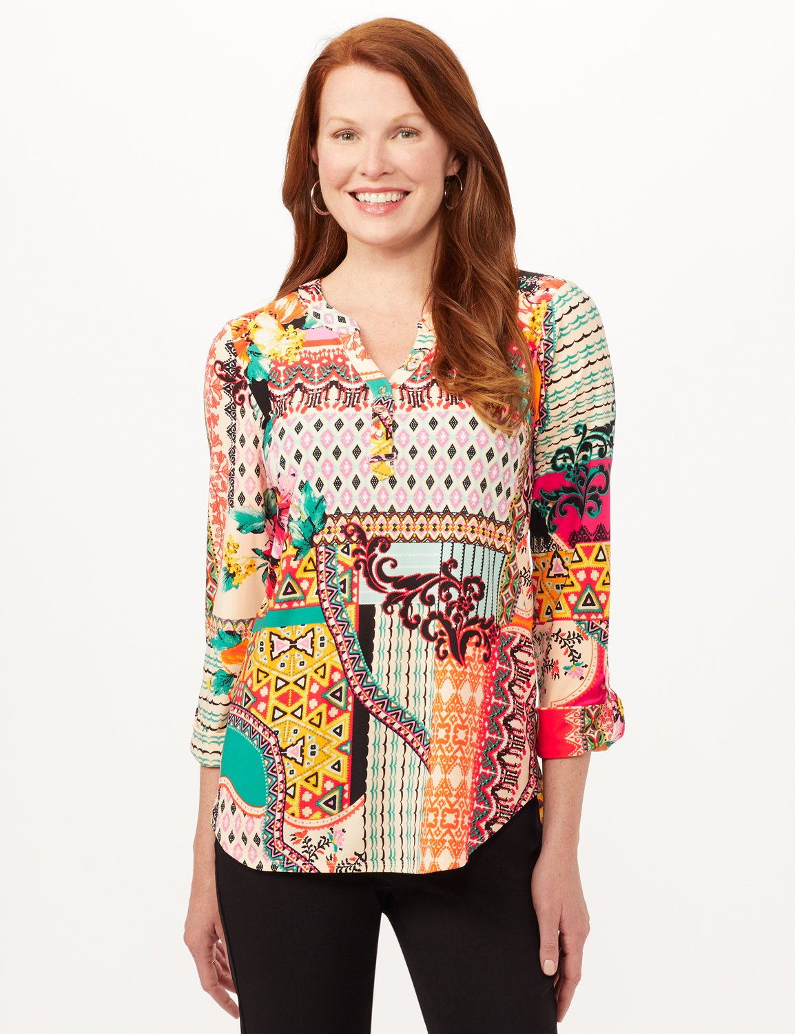 Roll Tab Popover Knit Top -Multi - Front