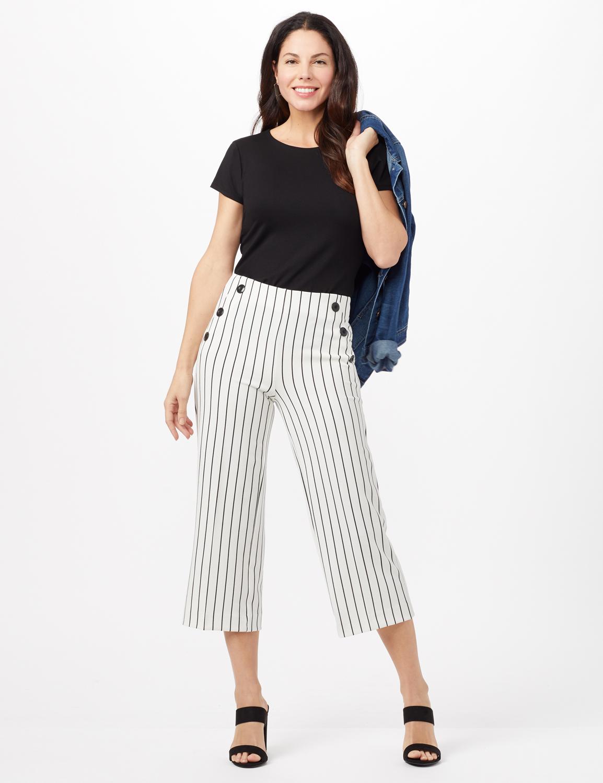 Stripe Sailor Crop Pants -Ivory/Black - Front
