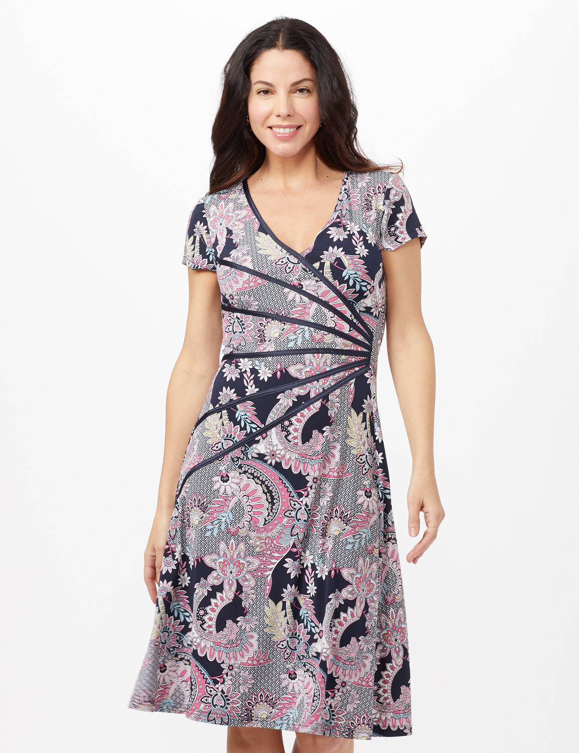 Paisley Seam Detail Dress -Navy/Pink - Front
