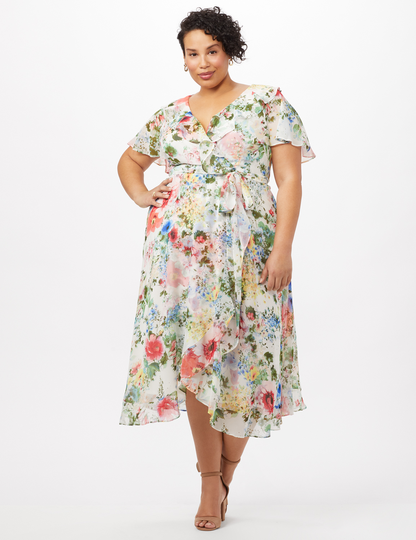 Floral Chiffon Wrap Ruffle Dress - Plus -Ivory/Pink - Front