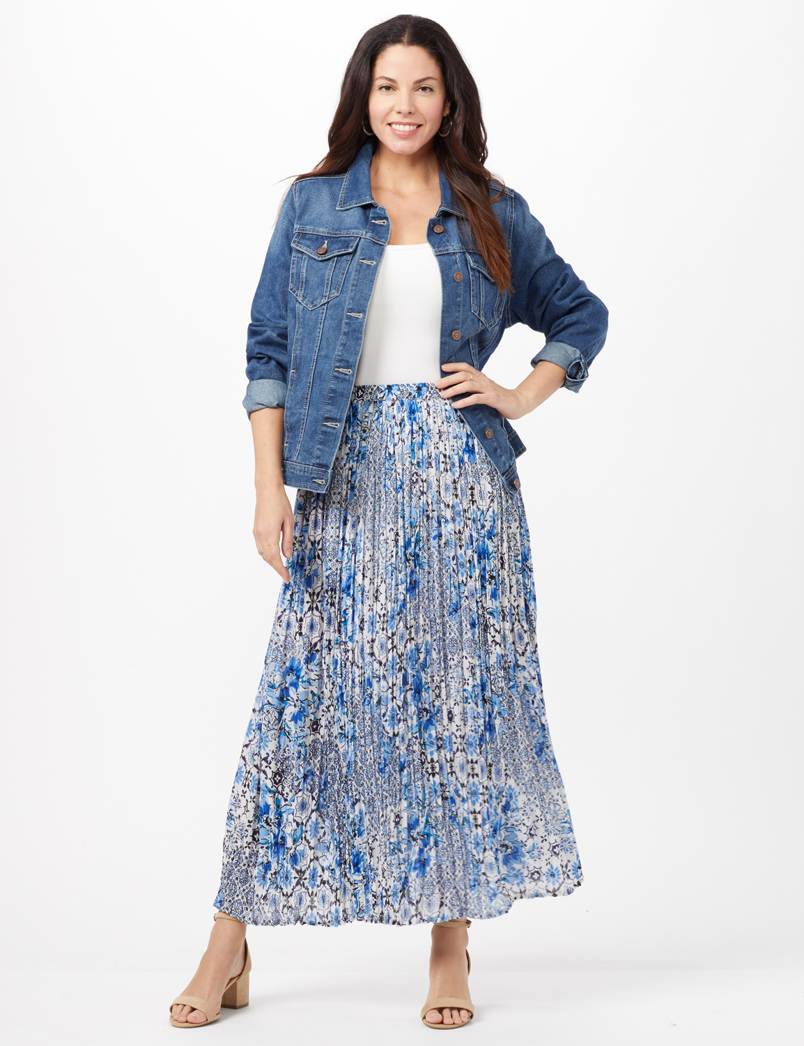 Crinkle Pleated Floral Skirt -Blue - Front