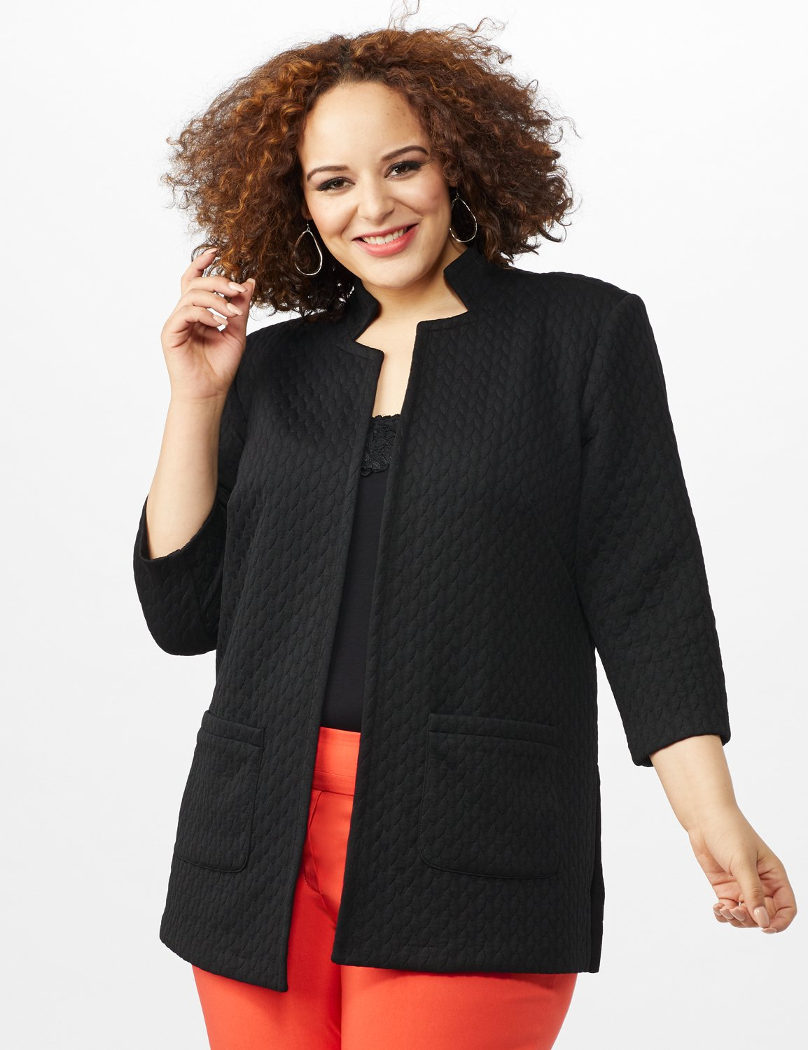 Quilted Jacquard Topper - Plus -Black - Front