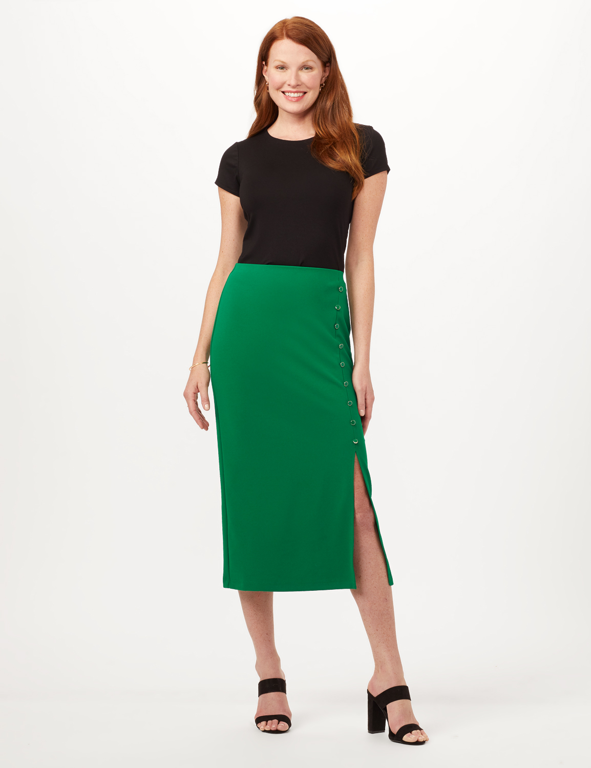 Side Slit Pull-On Pencil Skirt with Button Detail -Emerald Green - Front