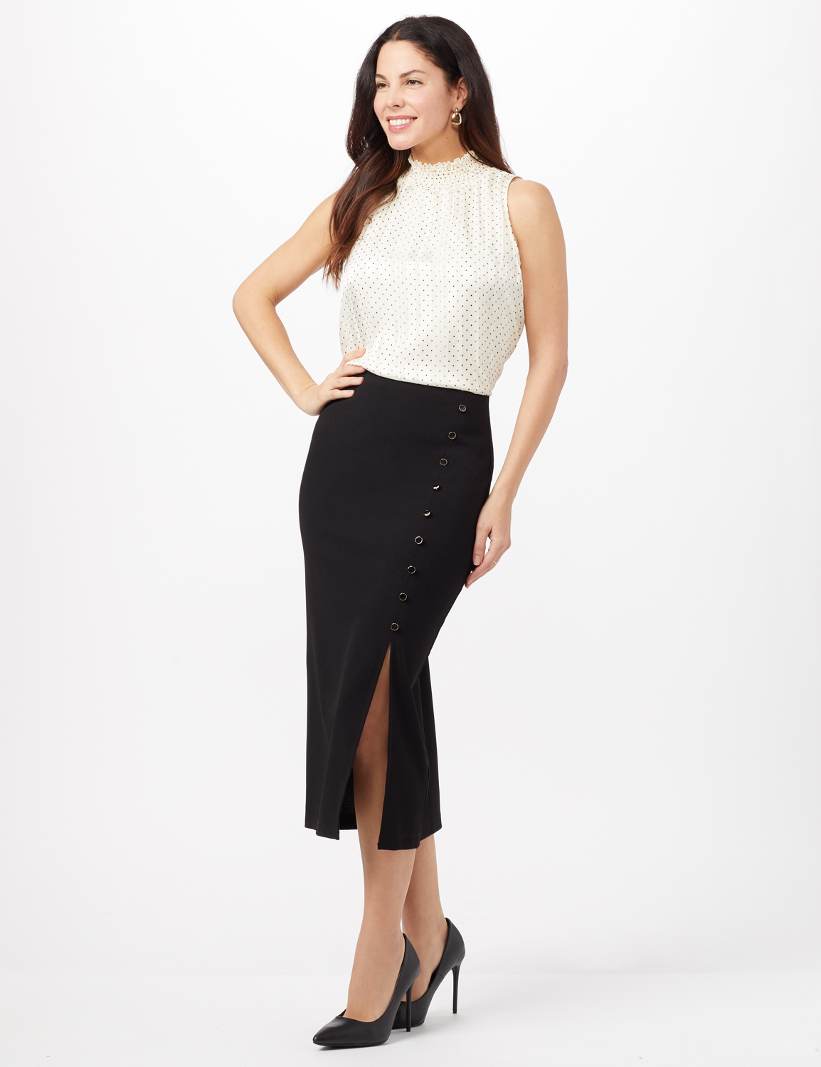 Side Slit Pull-On Pencil Skirt with Button Detail -Black - Front