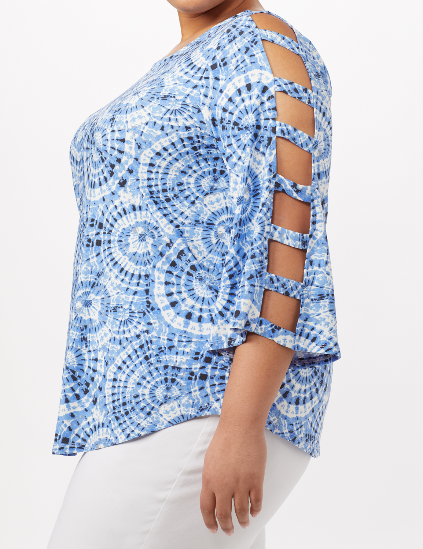 3/4 Lattice Sleeve Tie Dye Top - Blue - Detail