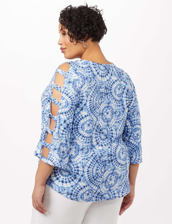 3/4 Lattice Sleeve Tie Dye Top -Blue - Back