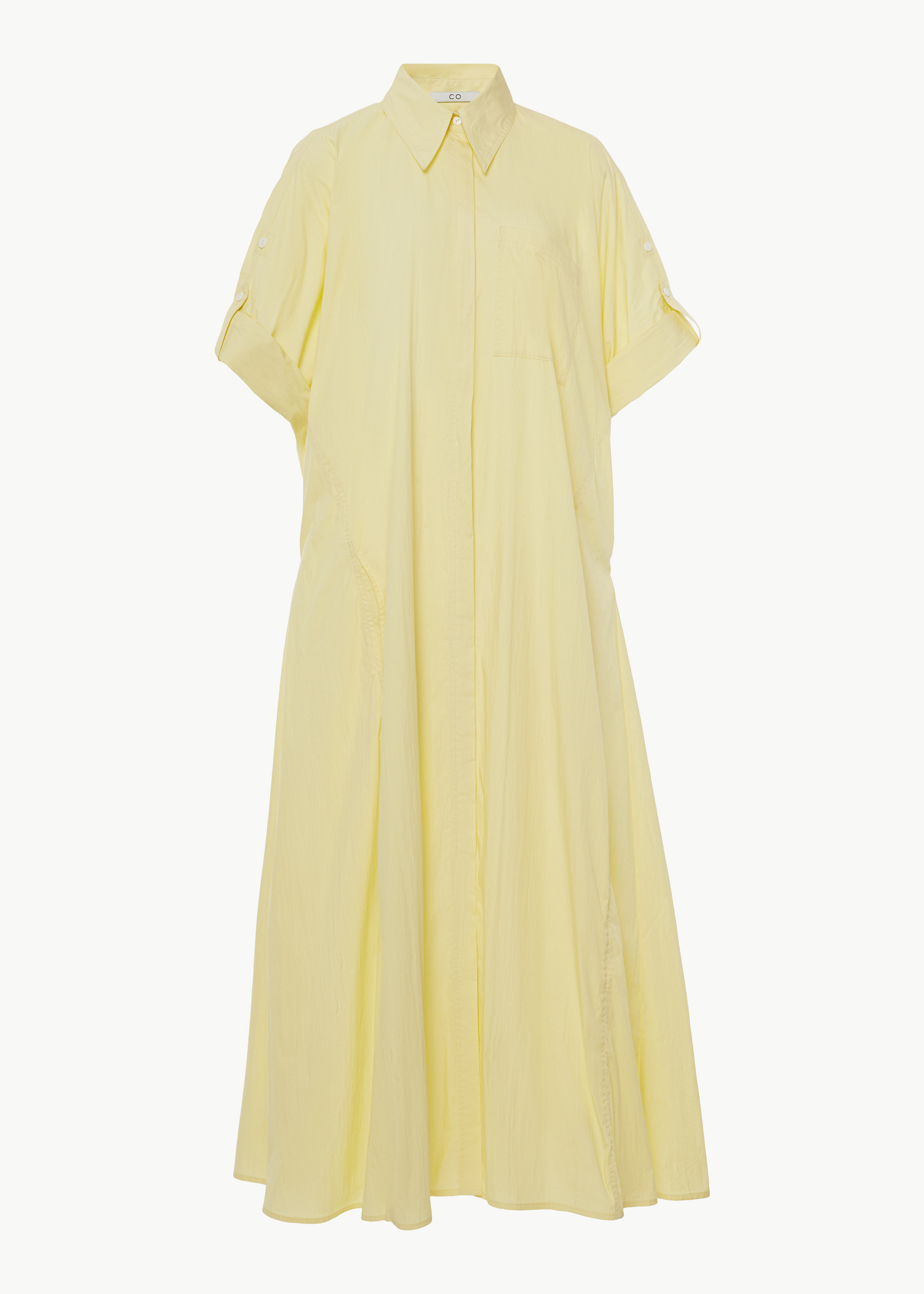 Rolled Sleeve Shirtdress in Cotton Nylon - Blue in Yellow by Co Collections