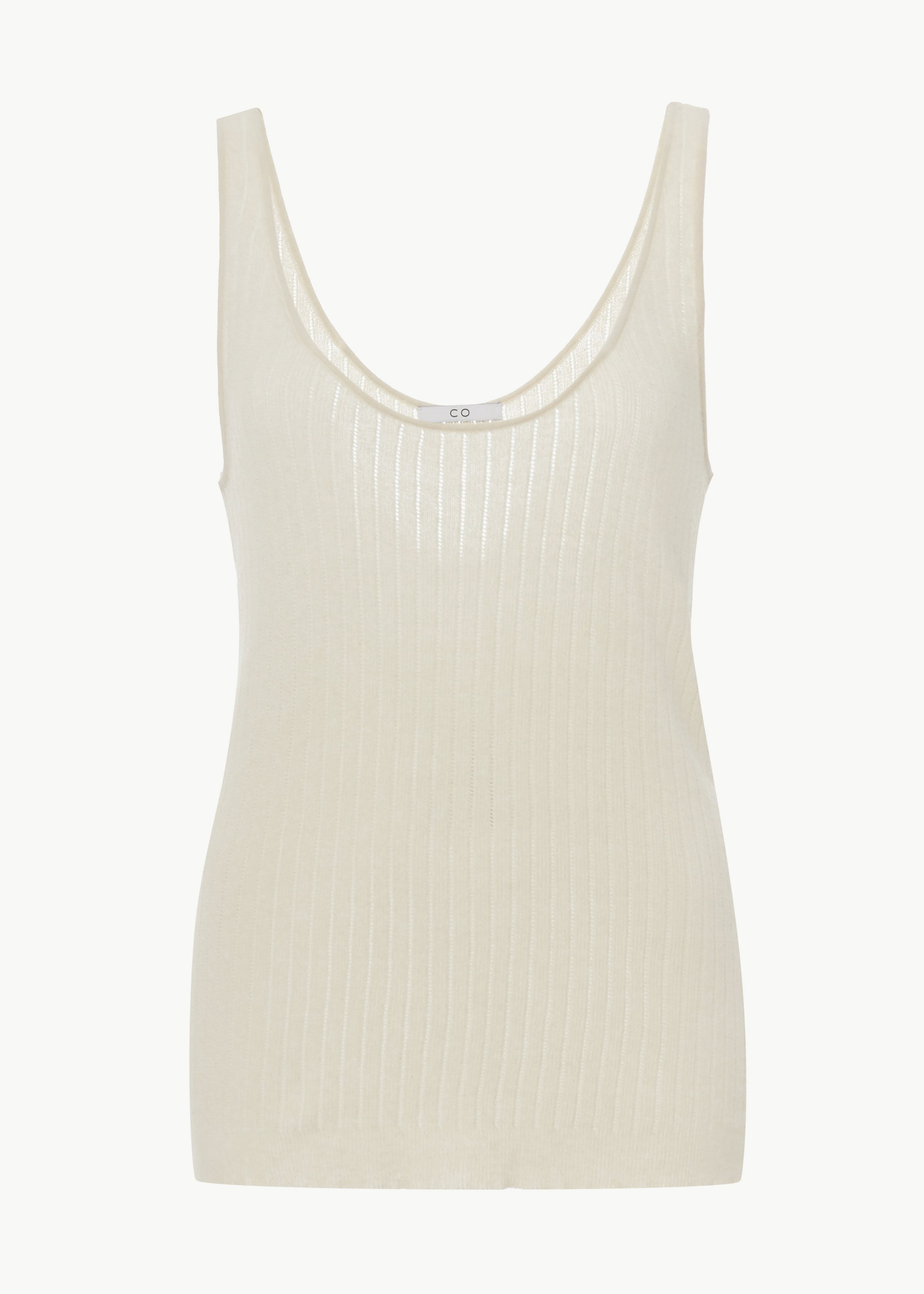 Pointelle Sweater Tank in Cotton - Black in Ivory by Co Collections